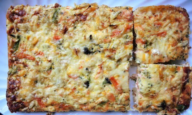 Quiche de salmón, verduras y queso (sin masa)